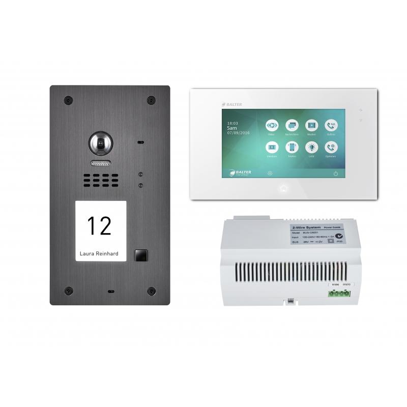 balter 2 draht set graphit edelstahl t rstation f r 1 teilnehmer 7 videostation touchscreen. Black Bedroom Furniture Sets. Home Design Ideas