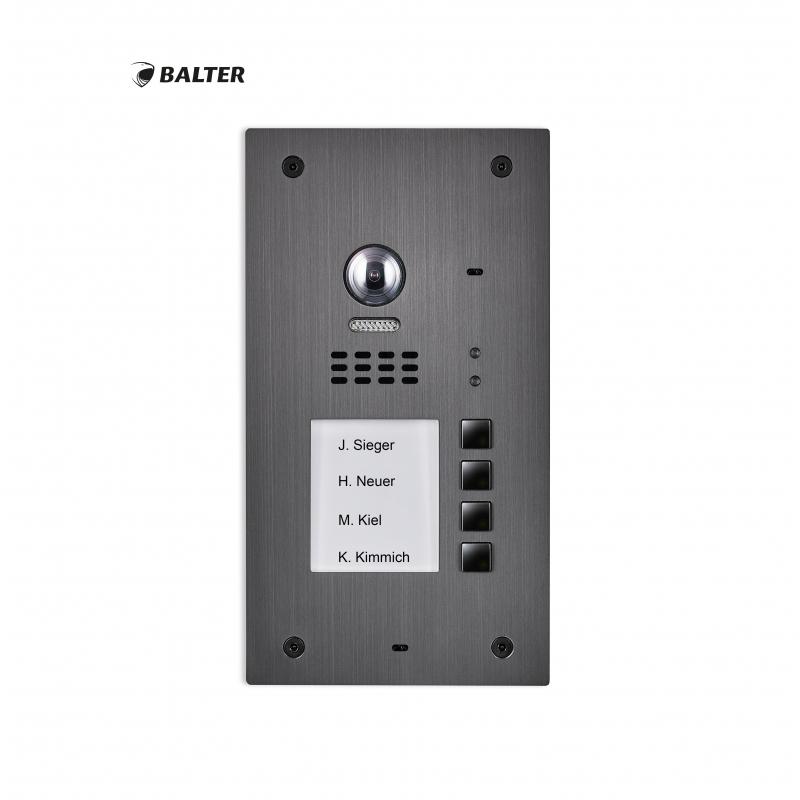 BALTER EVIDA Graphit RFID Edelstahl-Türstation für 4 Teilnehmer, 2 ...