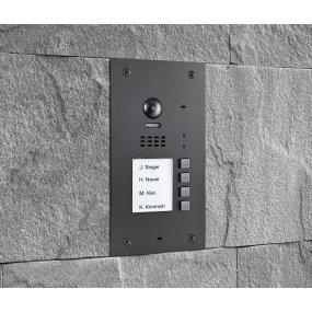 BALTER EVIDA Graphit RFID Edelstahl-Türstation 4 Teilnehmer, 2-Draht BUS Technologie, 170° Ultra-Weitwinkelkamera