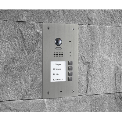 BALTER EVIDA Silber RFID Edelstahl-Türstation für 4 Teilnehmer, 2-Draht BUS