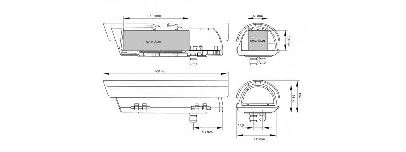Videotec Wetterschutzgehäuse mit Wandhalterung und Heizung, 230V AC, IP66
