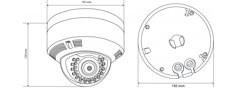 BALTER 2.0MP Infrarot IP Dome-Kamera, 2.8-12mm Motorzoom, 1920x1080p, Nachtsicht 30m, WDR 120dB , H.265, PoE/12V DC, IP66