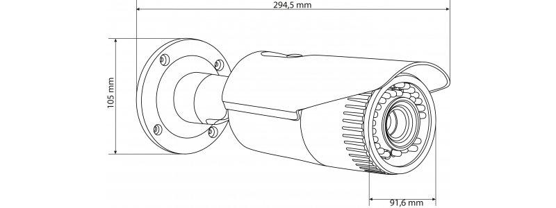NEOSTAR 2.0MP Infrarot IP Außenkamera, 2.8-12mm Motorzoom, 1920x1080p, Nachtsicht 30m, WDR 120dB, H.264+, PoE/12V DC, IP67
