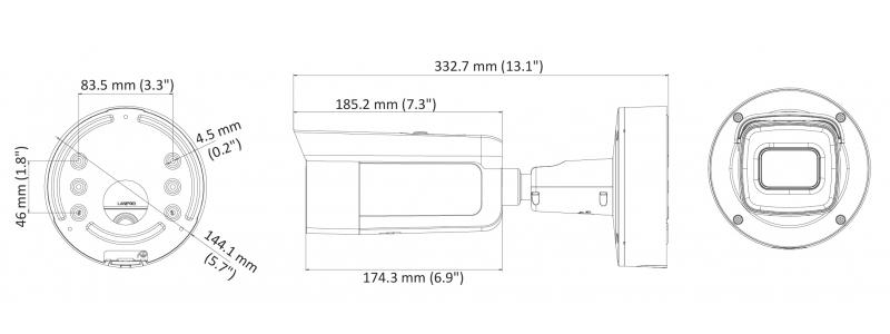 NEOSTAR 8.0MP EXIR IP Außenkamera, 2.8-12mm Motorzoom, 3840x2160p, Nachtsicht 50m, WDR 120dB, H.265+, VCA, PoE/12V DC, IP67