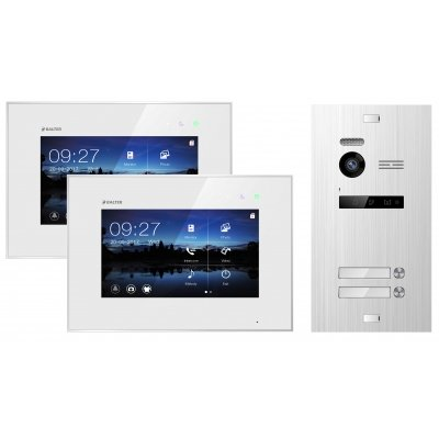 "BALTER EVO 2-Draht BUS Komplettsystem, Silver Türstation für 2 Teilnehmer + 2x 7"" Monitor"