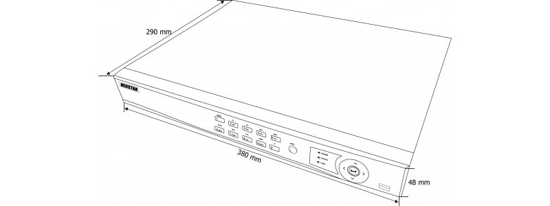 NEOSTAR 16-Kanal TVI / AHD / CVI + IP Videorekorder, H.265+/H.264+, 5MP (TVI) / 6MP (IP), Audio, Alarm, CMS, 12V DC