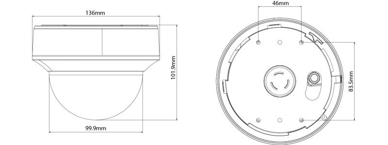 NEOSTAR 5.0MP EXIR TVI Dome-Kamera, 2.7-13.5mm Motorzoom, Nachtsicht 40m, Smart-IR, TVI / AHD / CVI / CVBS, 12V DC