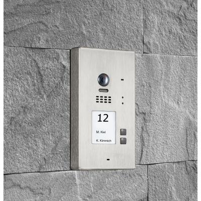 BALTER EVIDA Silver RFID Edelstahl-Türstation für 2 Teilnehmer, 2-Draht BUS Technologie (Video / Audio / Strom), 170°, Aufputz