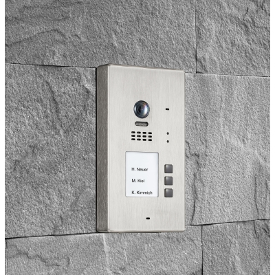 BALTER EVIDA Silver RFID Edelstahl-Türstation für 3 Teilnehmer, 2-Draht BUS Technologie (Video / Audio / Strom), 170°, Aufputz