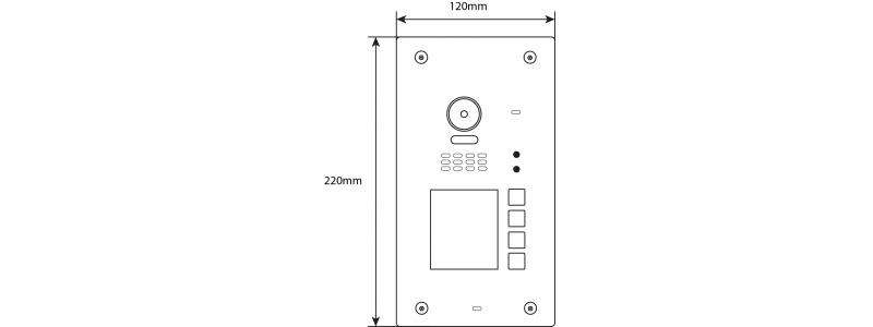 BALTER EVIDA Silver RFID Edelstahl-Türstation für 4 Teilnehmer, 2-Draht BUS Technologie (Video / Audio / Strom), 170° , Aufputz