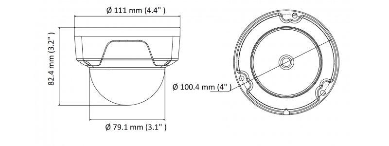 HiLook 2.0MP IR IP Dome-Kamera, 2.8mm, 1920x1080p, Nachtsicht 30m, H.265+ / H.265, PoE/12V DC, IK10, IP67