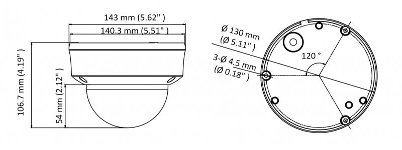 HiLook 2.0MP Vandalensichere EXIR TVI Dome-Kamera, 2.7-13.5mm Motorzoom, Nachtsicht 70m, WDR 120dB, Smart-IR, 12V DC, IP67