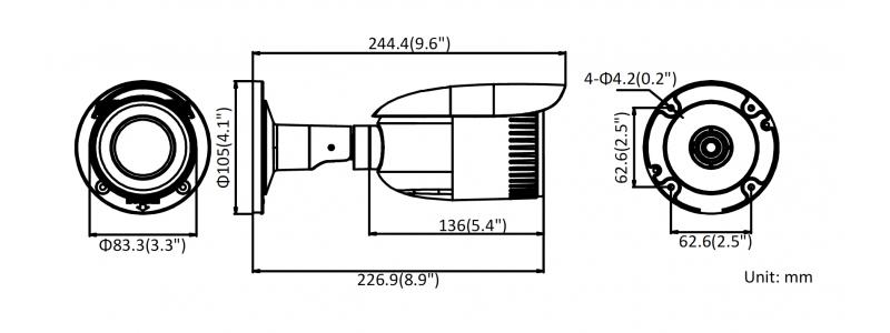 NEOSTAR 4.0MP Infrarot IP Außenkamera, 2.8-12mm Motorzoom, 2560x1440p, Nachtsicht 30m, WDR 120dB, H.265+, PoE/12V DC, IP67
