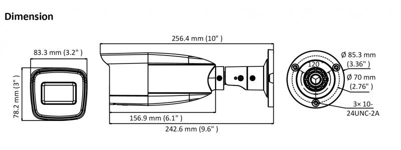 HiLook 2.0MP EXIR TVI Außenkamera, 2.7-13mm Motorzoom, Nachtsicht 70m, WDR 120dB, Smart-IR, Multiformat, 12V DC, IP66
