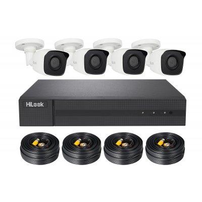 HiLook TVI Komplettsystem DVR-204Q-K1 + 4x THC-B140-M + 1TB HDD, 4x 18.3m Video/Stromkabel