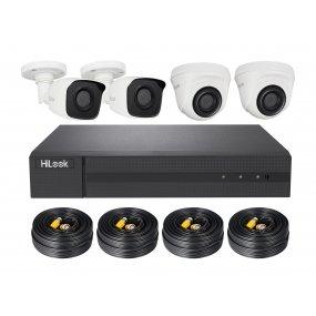 HiLook TVI Komplettsystem DVR-204Q-K1 + 2x THC-T140 + 2x THC-B140-M + 1TB HDD, 4x 18.3m Video/Stromkabel