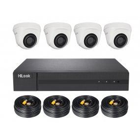 HiLook TVI Komplettsystem DVR-204Q-K1 + 4x THC-T140 + 1TB HDD, 4x 18.3m Video/Stromkabel