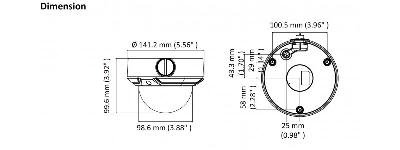 HiLook 2.0MP Infrarot IP Dome-Kamera, 2.8-12mm Motorzoom, 1920x1080p, Nachtsicht 30m, D-WDR, H.265+, PoE/12V DC, IK10, IP67