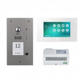 """Balter 2-Draht Set, Silver Edelstahl-Türstation für 1 Teilnehmer, 7"""" Videostation, Touchscreen, BUS-C6001 Hauptstromverteiler"""