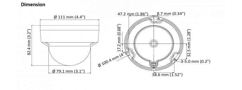 NEOSTAR 2.0MP Vandalensichere EXIR TVI / CVI / AHD Dome-Kamera, 2.8mm Weitwinkel, Nachtsicht 30m, WDR 120dB, 12V DC, IK10, IP67