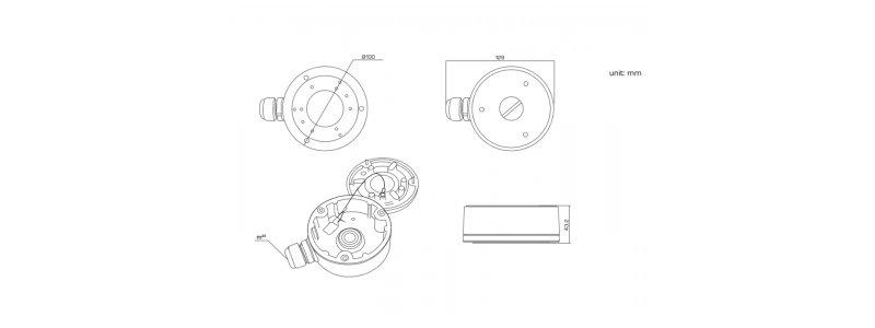 HiLook Universelle Junction Box (100mm) für Neostar und HiLook Mini Außenkameras und Mini Dome-Kameras