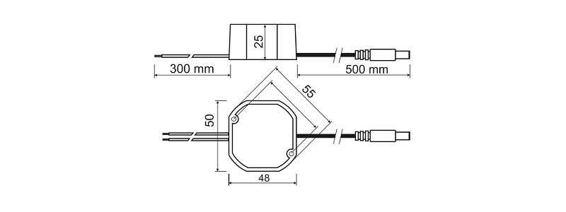 PSC 12V DC mit 1A (12 Watt), 55MM Impuls-Netzteil