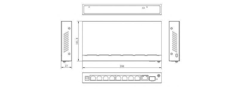 8x PoE Netzwerk Gigabit Switch, 2x Gigabit Uplink-Ports, 120W, 20Gbps Kapazität, CCTV-Modus, Metallgehäuse