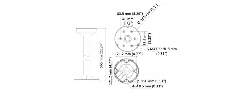 Neostar Deckenhalterung für Dome- und PTZ-Kameras, Aluminium