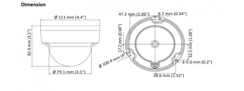 NEOSTAR 8.0MP Vandalensichere EXIR TVI / CVI / AHD Dome-Kamera, 2.8mm, Nachtsicht 30m, WDR, 12V DC, IK10, IP67
