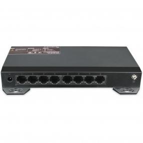 8x Port Netzwerk Gigabit Switch, 16Gbps Kapazität, Unmanaged, CCTV-Modus, geschirmte RJ-45 Ports, Lüfterloses Metallgehäuse