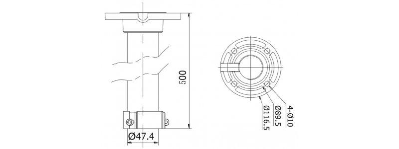 NEOSTAR Deckenhalterung für NEOSTAR und HiLook PTZ-Kameras, Aluminium, Weiß, 500mm Länge