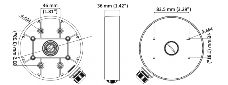 Neostar Junction Box / Anschlussdose für Dome-Kameras wie z.B. NTI-D6014MIR, Aluminium