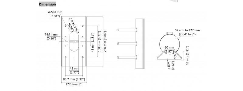 Neostar Mastmontageadapter aus Edelstahl für Masten mit 67-127mm Durchmesser, Weiß