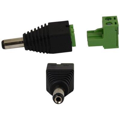 Strom-Adapter, DC-Adapter, DC-Stecker 2.1mm/5.5mm auf Lüsterklemme 2-pol. (männlich)