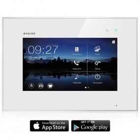 BALTER EVO 7'' Videostation mit WiFi, Kapazitiv Touchscreen, 2-Draht BUS, Plexiglas, EVO App, Interkom, microSD-Slot, Weiß
