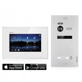 """BALTER EVO 2-Draht BUS WIFI-System, Silver Türstation für 1 Teilnehmer + 7"""" Monitor, EVO App, Touchscreen + Hauptstromverteiler"""