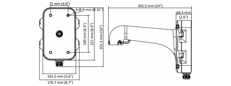 NEOSTAR Wandmontagehalterung mit Anschlussdose für NEOSTAR PTZ Kameras