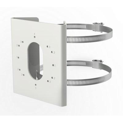 Vertikale Masthalterung aus Edelstahl, mit Edelstahl-Spannbändern, Weiß