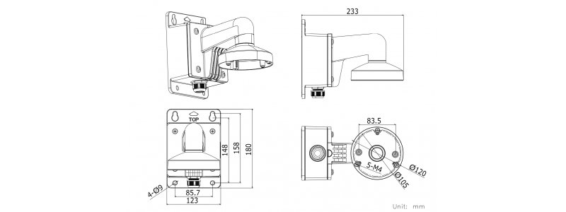 NEOSTAR Wandhalterung mit Anschlussbox / Junction Box für mini Dome-Kameras, Aluminium, Weiß