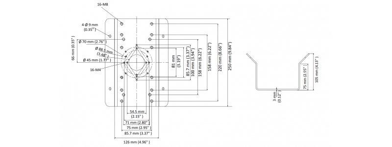 Eckhalterung für Wandhalterungen und Außenkameras aus Edelstahl, Weiß
