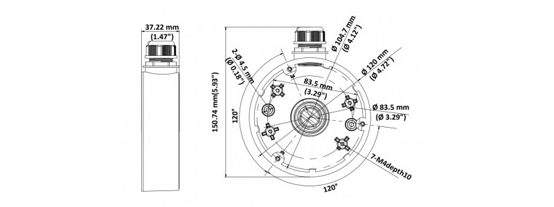 NEOSTAR Junction Box / Anschlussdose für mini Dome-Kameras wie z.B. NTI-D8007IR-PE, Aluminium