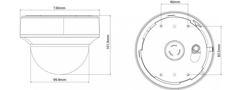NEOSTAR 8.0MP 4K EXIR TVI / CVI / AHD / CVBS Dome-Kamera, 3840x2160p, 2.7-13.5mm Motorzoom, Auto-Fokus, Nachtsicht 60m, 12V DC