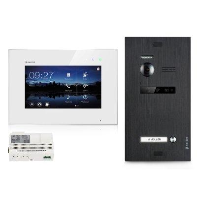"BALTER EVO 2-Draht BUS Komplettsystem, Black Türstation für 1 Teilnehmer + 7"" Monitor, Touchscreen + Hauptstromverteiler"