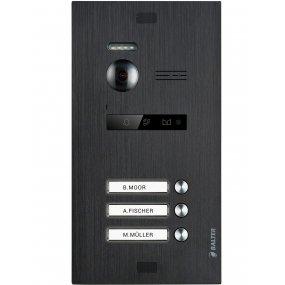 BALTER EVO Black Türstation für 3 Teilnehmer, 2-Draht BUS Technologie (Video / Audio / Strom), 150° Weitwinkelkamera