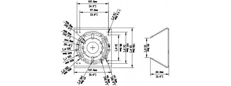BALTER X Masthalterung für Wandmontagehalterungen, 120 x 120 x 53.4 mm, Verzinktes Blech, Weiß