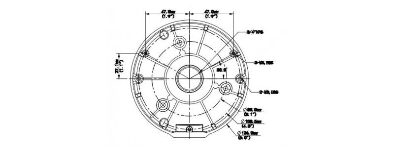 BALTER X Anschlussdose für Dome-Kameras mit VF-/Motorzoom-Objektiven, D126 x 36 mm, Aluminium, Weiß