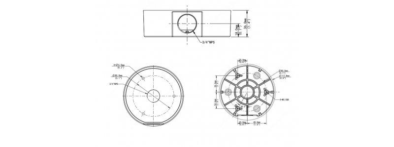 BALTER X Anschlussdose / Junction Box für ECO mini Eyeball Kameras mit Fixbrennweite, D117 x 36 mm, Aluminium, Weiß
