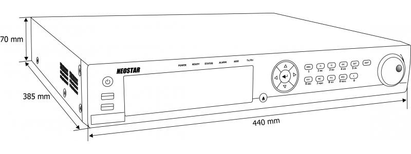 NEOSTAR 16-Kanal PoE Netzwerk Videorekorder, 2592x1944p, 160Mbit, H.264, VCA, Alarm, CMS, HDMI, 230V AC