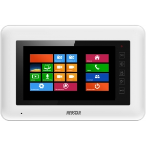 "7"" Touch-Screen Videostation, 4-Draht, Telefonmodul, SD-Slot, Weiß"