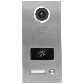 Türstation mit 1 Klingeltaste, 4-Draht, 120° Weitwinkel-Kamera, Nachtsicht, RFID
